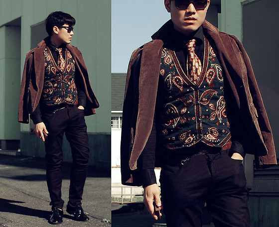 KIKO CAGAYAT - 2nd Hand Paisley Vest, Uniqlo Black Pants, Lanvin Necktie, Ray Ban Wayfarer, J. Crew Corduroy Brown Blazer, Burberry Black Label Inner Shirt - The day you said goodbye