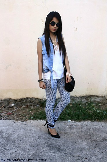 Zaira Chan - Forever 21 Necklace, Monkee Business Vest, Forever 21 Pants, Forever 21 Heels, Trendphile Sunnies - Denimalized