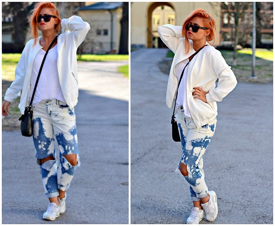 Rebecca Fredriksson -  - TRASHED DENIM AND WHITE JACKET