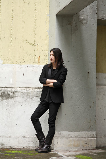 Philip Mak - Zara Tux Blazer, True Religion Skinny Denim, Biker Boots - Without Thinking