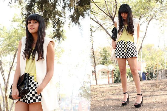 Jennifer Aranda - Za Vest, Zara Chess Short, Forever 21 Neon Tee, Za Wedges - Chess mate