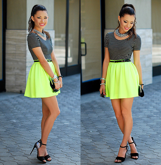 Jessica R. - Living Royal Neon Green Skater Skirt, Candydee Jewelry Chunky Silver Weave Necklace, Shoemint Sparkle Strappy Heels, American Apparel Stripe Crop Top - Neon, Stripes and Sparkles