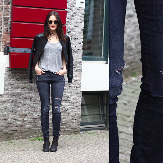 Renée Sturme - New Look Jacket, 7fam Jeans, Zalando Collection Studded Boots - Ripped