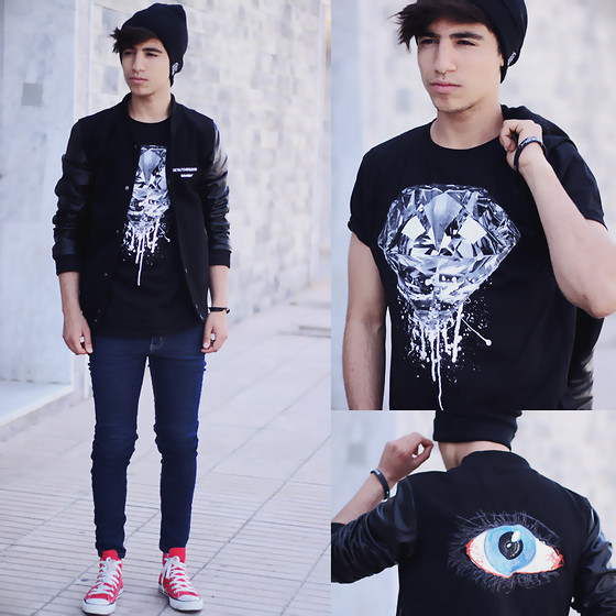 Ayoub Mani - Tshirt To The Black, Choies Jacket, Cheap Monday Jeans, Convers Shoes, Braclette Totheblack - To The Black