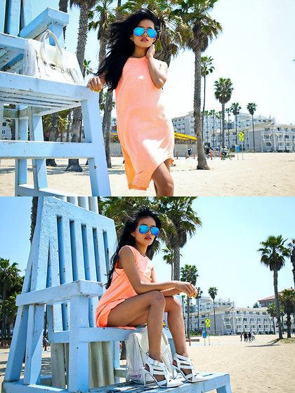 Olivia Lopez - The Caravan Aviators, Finders Keepers The Label Dress, 3.1 Phillip Lim Clear Pashli Bag - Muscle Beach