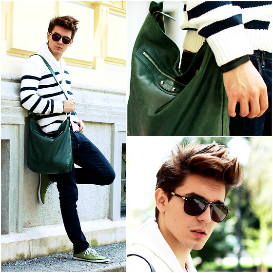 Peter C. - H&M Striped Sweater, Balenciaga Tote, Persol Steve Mc'queen Shades, H&M Skinny Denim, H&M Green Shoes - Old Balenciaga in <3