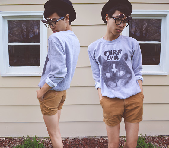 Steven Reeder - Etsy Purr Evil Sweater, Ebay Double Lens Sunglasses, American Apparel Twill Shorts - I love the way you make me feel.