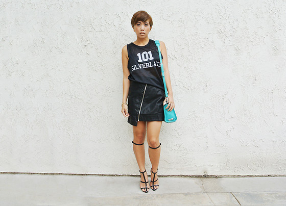 Yuka I. - Blood Is The New Black Tank, Silence And Noise Skirt, Botkier Bag, Alexander Wang Heels - Team silverlake