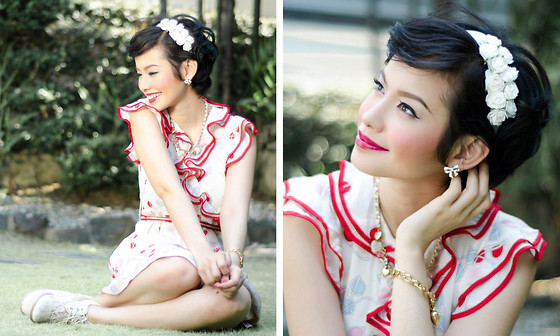 Bea Benedicto - Flora Bella Floral Headband, Kate Spade Dress - Red