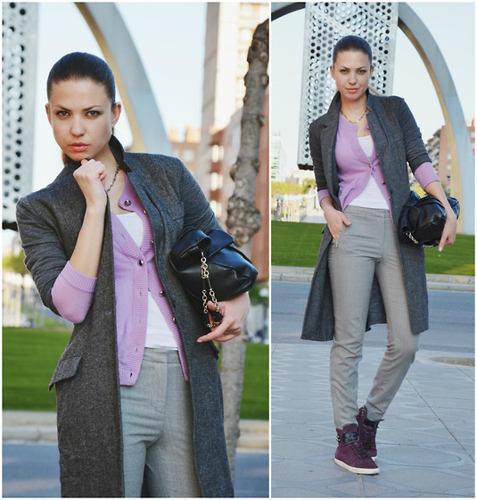 Kseniya B - Marc By Jacobs Cashmere Cardigan, Kaufman Franco Pants, Anya Hindmarch Bag, Marcel Marongiu Coat, Forfex Sneakers - Color Combo - Grey & Purple