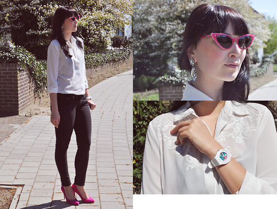 Insomnia Heartbreak - Primark White Blouse, Polaroid Cat Eye Sunglasses, Swatch Rubber Watch - Fresh