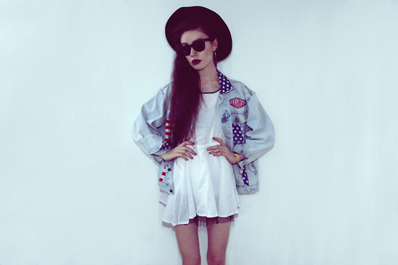 Violet Ell - Thrift Store White Dress, Thrift Store Denim Jacket, Thrift Store Hat, Casio Watch, Ray Ban Sunglasses, Dr. Martens Boots - 26.04.2013