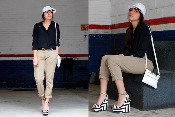 Jennifer Aranda - New Era Ny Cap, Zara Shirt, Pull & Bear Boyish Jeans, Vintage Ny Handbag, Zara Striped Wedges - Boyish