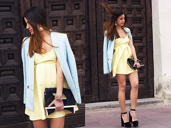 Teresa Torero - Zara Tuxedo, Zara Dress, Zara Purse, H&M Brazalets, H&M Earrings - YELLOW DRESS & BLUE TUXEDO