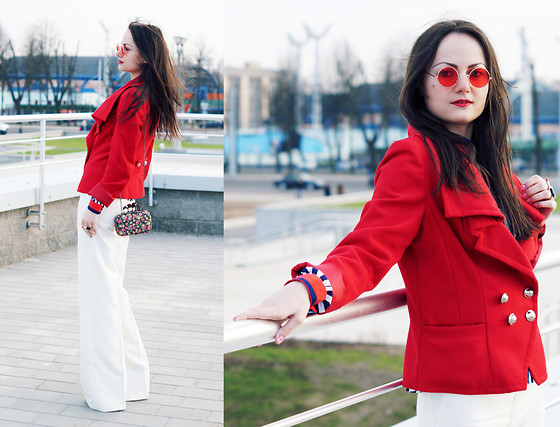 Ann Kos - Tally Weijl Jacket - White+Red