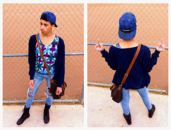 ♡Austin Smith♡ - Supreme 5 Pannel Snapback, Sonoma Vintage Oversized Cardigan, Brown Leather Satchel, Soda Spiked Combat Boots, American Eagle Ripped/ Distressed Jeans, Urban Outfitters Tye Dye Tank Top - Supreme 5-pannel