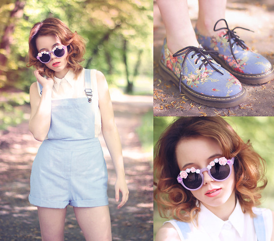 Wioletta Mary Kate - Oasap Shoes, Omg Fashion Dungarees, Romwe Sunglasses, Romwe Shirt - Inspired by Wildfox