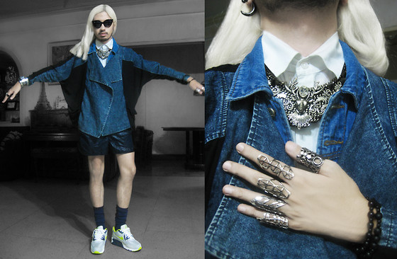 Andre Judd - Subcult Batwing Denim Jacket With Sheer Combi, Denim Gillet, H&M White Sleeveless Button Down, Ken Samudio S/S2013 Elkland Neckpiece, Nylon Cire Shorts, Navy Blue Socks, Nike Airmax, Maison Martin Margiela Casio G Shock By, Trendphile Cats Eye Frames, Strozzi Abecel Rosende Collection Of Polymorphic Rings - BATWING