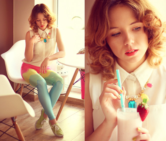 Wioletta Mary Kate - Romwe Leggins, Romwe Shirt, Iloko Necklace - Ice Cream Dream.