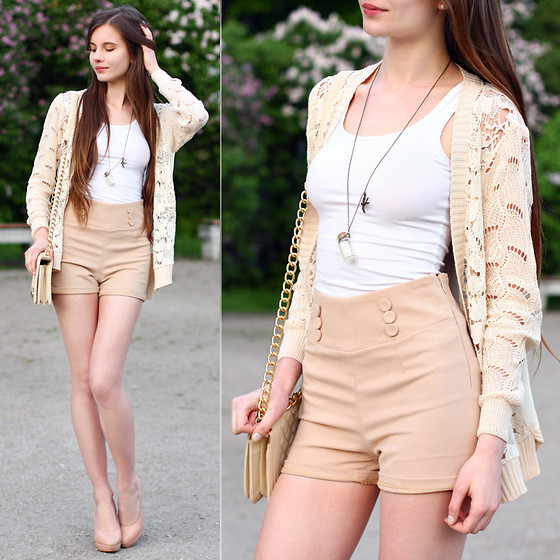 Ariadna Majewska - Vj Style High Waisted Beige Shorts, Chic Wish Lace Crochet Cardigan With Chiffon Back, H&M White Top, Beige Chain Bag, Asos Beige Leather Heels, Kelly At Large Necklace With Bottle - Beige look