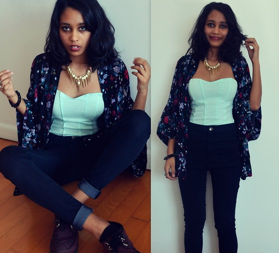 Alida Leclercq - Topshop High Waisted Jeans, Bershka Bustier, Stradivarius Kimono, New Look Creepers - The Fall