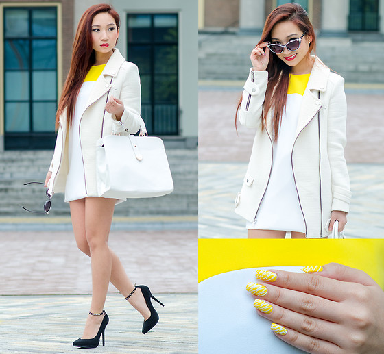 Minh Nguyen - Asos Bag, Zara Coat, Zara Dress, Zara Heels, Asos Sunglasses - BANANAS
