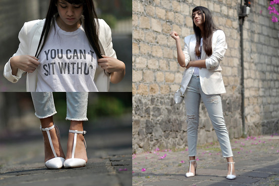 Jennifer Aranda - Mango White Blazer, Zara Ripped Jeans, Zara White Shoes, Graphic Tee - White lies