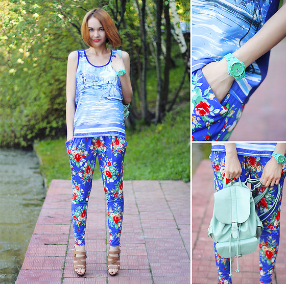 Lidia ♫♪♫ - River Island Top, Nowistyle Pants, Oasis Watch, Chic Wish Backpack - Nature girl