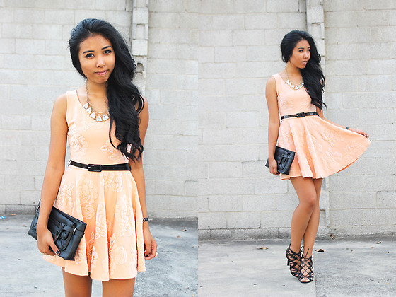 heels with peach dresses