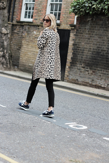 THEFASHIONGUITAR - - Prada Sunglasses, Zara Coat, J Brand Jeans, New Balance Trainers - The leopard is back!