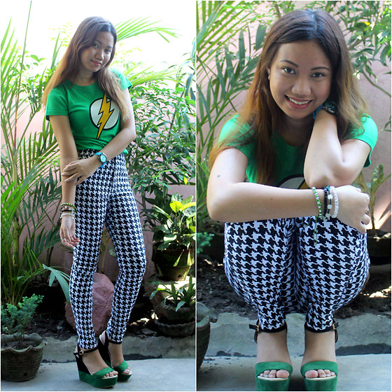 Mylz Romero - Parisian Wedges, Sm Gtw The Flash Shirt, Kcc Malls Houndstooth Pants - Flash in Green