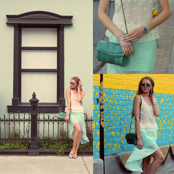 Natalie A - Abercrombie Chiffon Top, Zara Mint High Low Skirt, Stewarts Vintage Montreal Teal Bag, Embroidered Flats - This is Paradise - OASAP Giveaway on my blog!