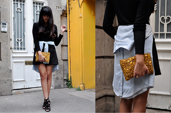 Jennifer Aranda - Pull & Bear Denim Shirt, Anthropologie Sequined Clutch, Zara Origami Skirt, Zara Sandals - Wrap it up!