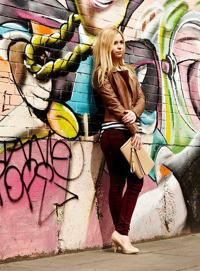 Alina A - Warehouse Biker Jacket, Warehouse Clutch, Warehouse Jeans, Steve Madden Heels, Warehouse Top - Postcards from Shoreditch