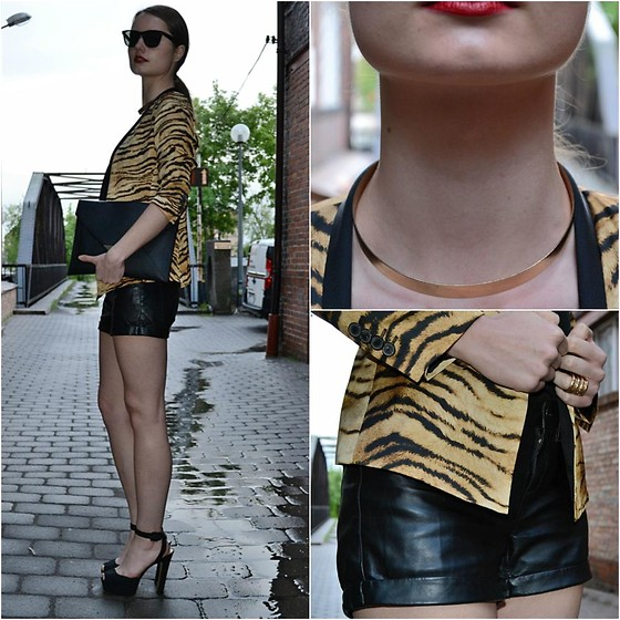 Izabella Kvist - H&M Necklace, Zara Blazer, Lindex Leather Shorts, Ray Ban Sunnies, H&M Bag, Zara Shoes - Wild panther