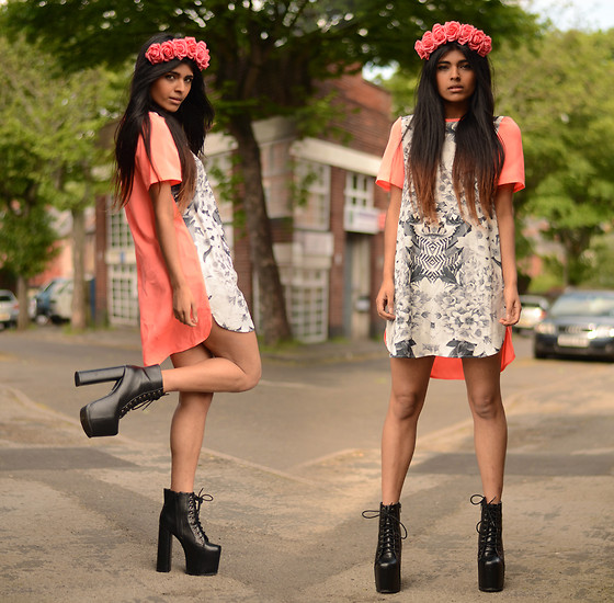 Kavita D - Finders Keepers The Label Dress, Crown & Glory Coral Floral, Jeffrey Campbell The Big Lita - Finders Keepers