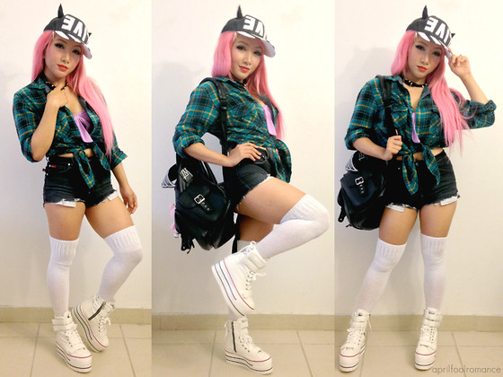 Rina H - Maxstar Cn9 3 Belts Tc Double Platform Taller Boots White, Lost Mannequin Winged Black Sid Backpack, Live Evil Hat (Diy), Goodwill High Waisted Shorts (Diy), My Husband's Clothing., Hot Topic Spiked Choker, Sockdreams O Basics Over The Knee Socks - Live Evil, Devil Girl