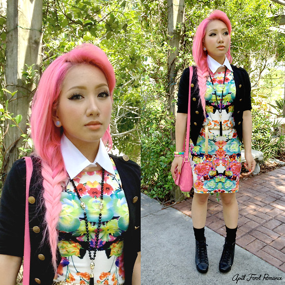 Rina H - Sheinside Flower Dress, Tommy Hilfiger Pink Purse, Icing By Claire's Skull Bead + Tassel Necklace, Black Blazer W/ Gold Buttons, Gojane Black Shoes, Diy Collar - Just A Roaming Flower In The Garden