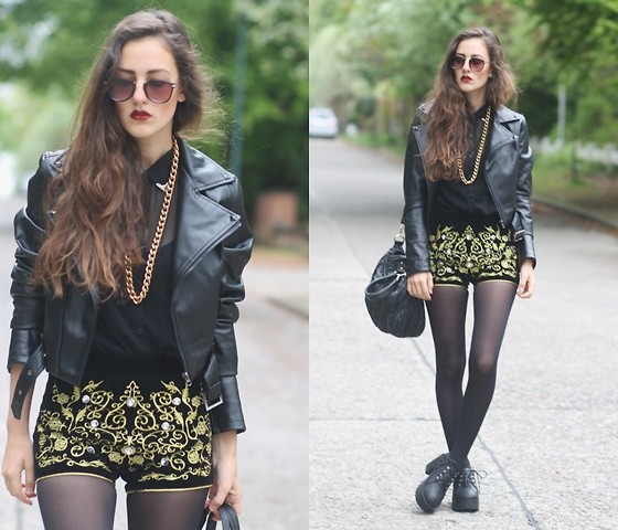 E V - Velvet Baroque Embroidered Shorts, Chunky Black Boots - ELECTRIC SOUL