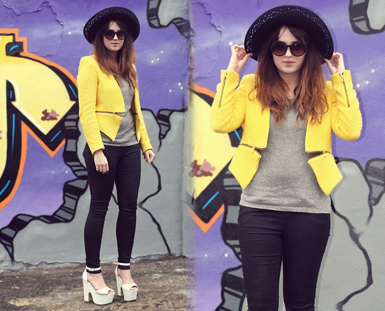 Rachael Dobbins ♡ - Roses & Clementines Embellished Sunglasses, Zara Yellow Blazer, All Saints Grey Tee, All Saints Verne Ashby, White Platform Wedhes - Sunshine Yellow // rachaeldobbins.blogspot.co.uk