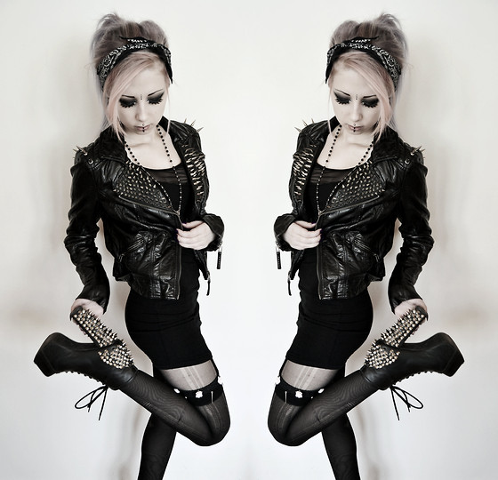 Rosa Pekkanen - H&M Dress, Jeffrey Campbell Spiked Litas, Diy Leg Garter - ▲►▼◄