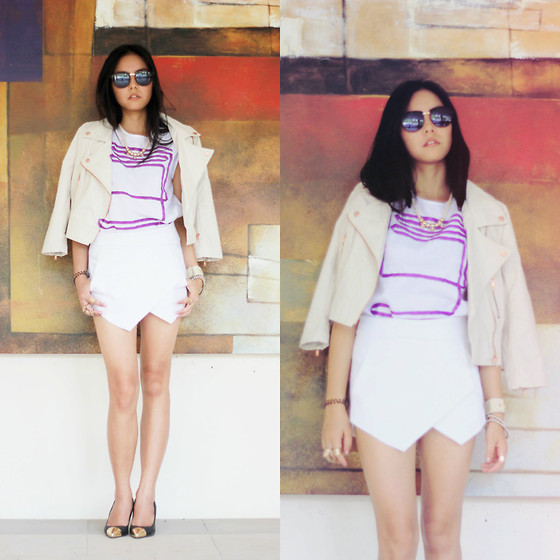 Diana Netaneel Caitilin - Leony Evelyn Clothing Dandly Purple Top, Sheinside White Skort - Love with nothing more than hope