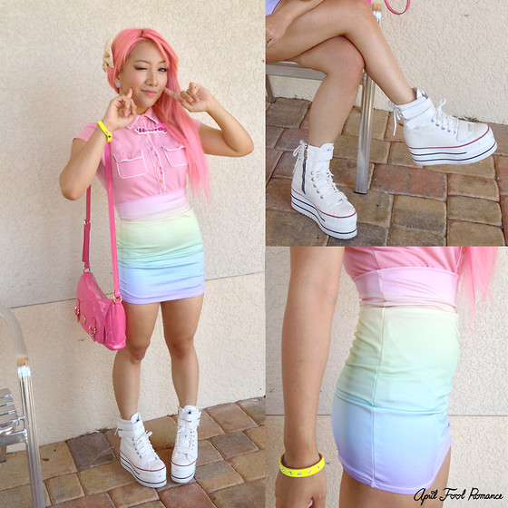 Rina H - Foxtale Designs Pastel Rainbow Ombre High Waisted Bodycon Skirt, Maxstar Cn9 3 Belts Tc Double Platform Taller Boots White - Color Me Bright
