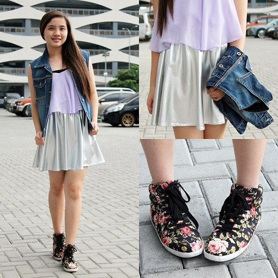 Caitlin Roxette - Guess? Diy Denim Vest, Forever 21 Floral Sneakers - Blogger's United 5