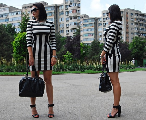 Kristina P. - Sheinside Dress, Sammydress Bag, Romwe Sunglasses, Freya Accessories Necklace - Stripes