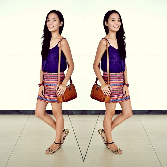 Lui O. - Sound And Matter Violet Lace Top, Bench Maroon Watch, Fossil Brown Leather Sling Bag, Parisian Faux Snakeskin Sandals, Bubbles Aztec Pencil Skirt - You Say Goodbye, I Say Hello