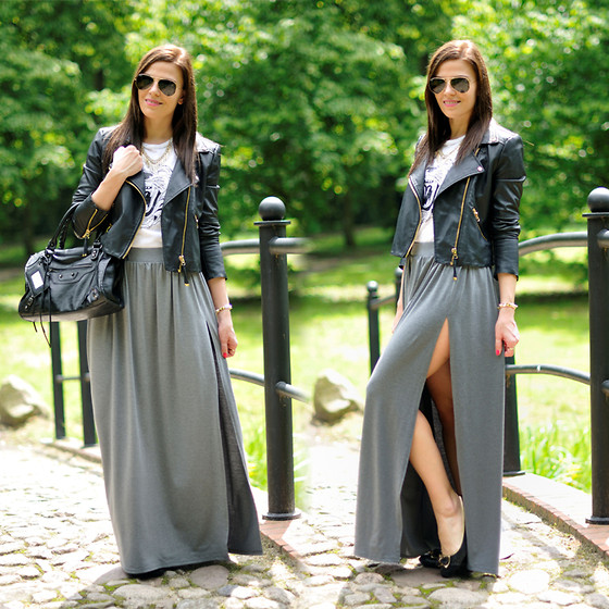 Renata M.. - Vjstyle Bag, Preska Skirt, Zlz Tee, Ray Ban Sunnies, Mango Jacket - Grey maxi skirt
