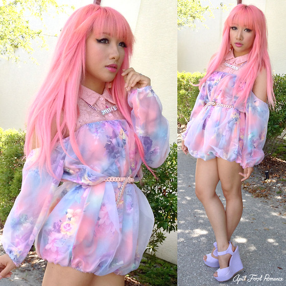 Rina H - Trinitystyles Floral Bubbly Dress, Urbanog So Cool Bow Peep Toe Platform Wedge - Pastel Flower Fairy