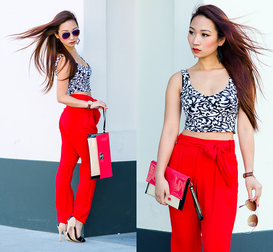 Minh Nguyen - Mango Trousers, Topshop Crop Top - LADY IN RED