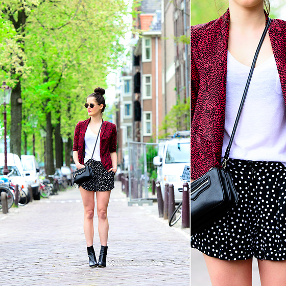 Renée Sturme - New Look Blazer, Motel Shorts, Rebecca Minkoff Bag, Clear Heel Boots - Print
